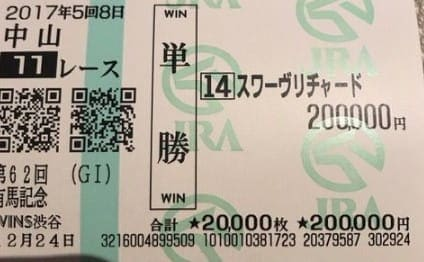 有馬記念に単勝20万円